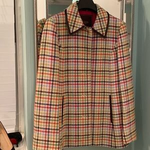Coach Multicolored Tattersall Houndstooth Coat M